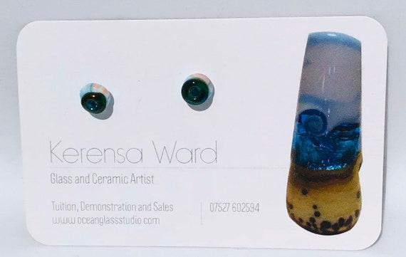 Handmade Glass Stud Earrings little two tone pale blue and metallic green seaside beach SRA J57 Lampwork