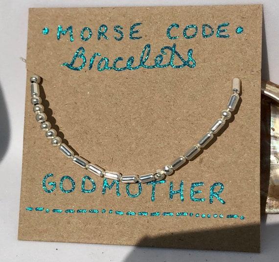 Handmade MORSE-Code bracelet. Godmother. Fully adjustable. Silver plated beads on pale grey coloured beadalon thread SRA J57