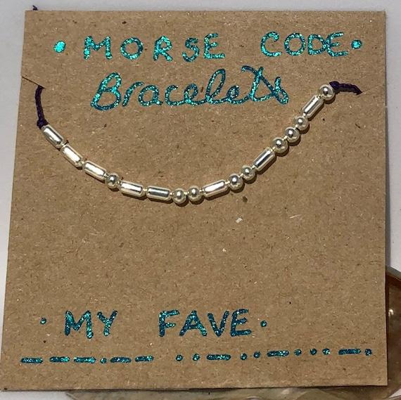 Handmade MORSE-Code bracelet. My Fave. Fully adjustable. Silver plated beads on dark purple coloured beadalon thread SRA J57