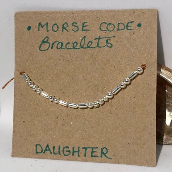 Handmade MORSE-Code bracelet. Daughter. Fully adjustable. Silver plated beads on copper coloured beadalon thread SRA J57