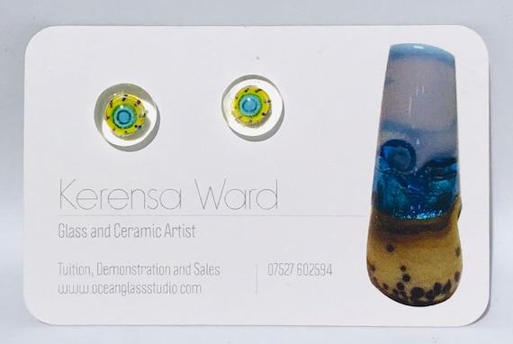 Handmade Glass Stud Earrings lime green turquoise blue under a clear lens murrini italian SRA J57 Lampwork