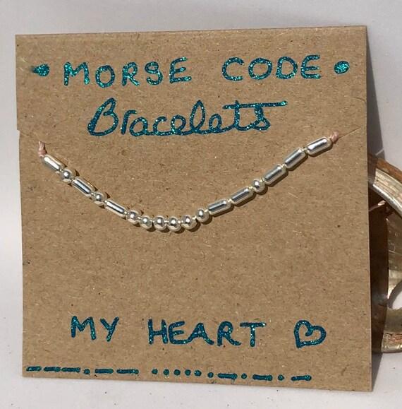 Handmade MORSE-Code bracelet. My Heart. Fully adjustable. Silver plated beads on pale pink coloured beadalon thread SRA J57