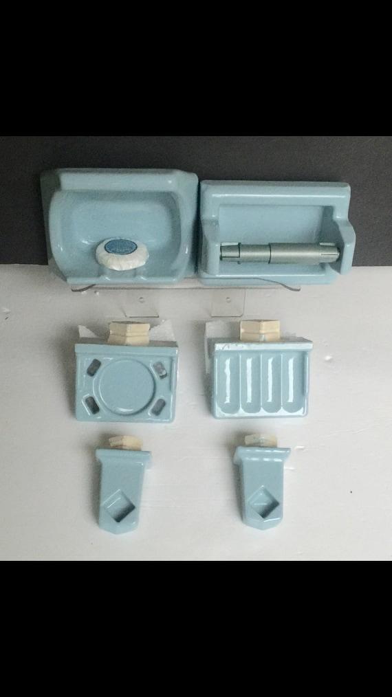 Vintage 1960s USA 1970s toilet paper roll ceramic-color light blue New