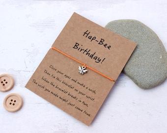 Birthday Wish Bracelet, Birthday Bracelet, Happy Birthday Gift, Bee Wish Bracelet, Birthday Friendship Bracelet, Birthday Charm Bracelet