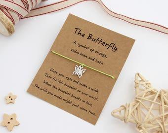 Butterfly Bracelet, Butterfly Wish Bracelet, Butterfly Lover, Friendship Bracelet, Butterfly Charm, Butterfly Gift, Butterfly Jewellery