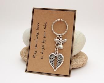 Guardian Angel Keychain, Guardian Angel Charm, Guardian Angel Keepsake, New Driver Gift, Angel Wings Gift, Memorial Gift, Holy Communion