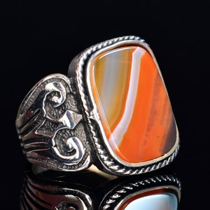 Personalized Ring Sultanit Stone. 925 Sterling Silver Mens Ring