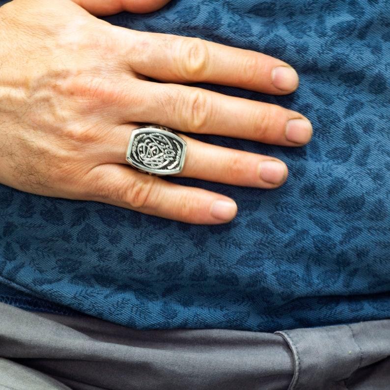 La Galibe \u0130llallah Written Silver Men Ring Sterling silver men ring islamic Ring Arabic Ring Muslim Ring