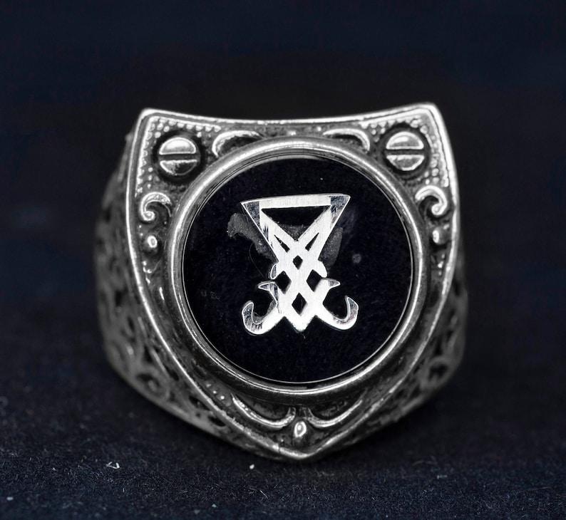 Satan Ring Satanic Ring Sigil of Lucifer Ring 925 Sterling Silver Men Ring