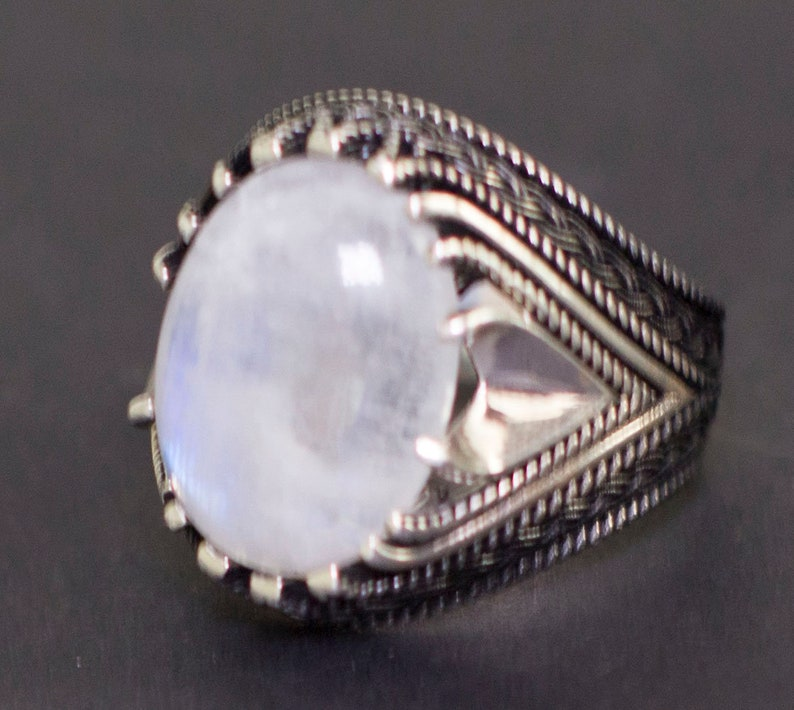 Emerlad Labrodorite Bloodstone Natural Gemstone Jade Malachite Jasper Ruby Moonstone Pearl 925 Sterling Silver Mens Ring Turquoise