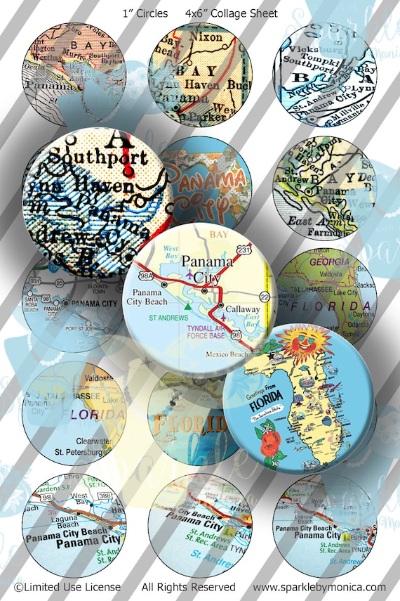 Panama City Beach Florida Map.Panama City Beach Florida Map Bottle Caps Fl Map Bottle Cap Etsy