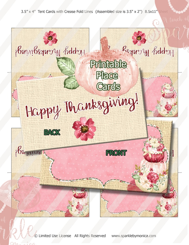 Happy Thanksgiving Marsala Pumpkin Burlap Digital Place Cards,Fold Over Tent Cards Name Cards:Instant Download