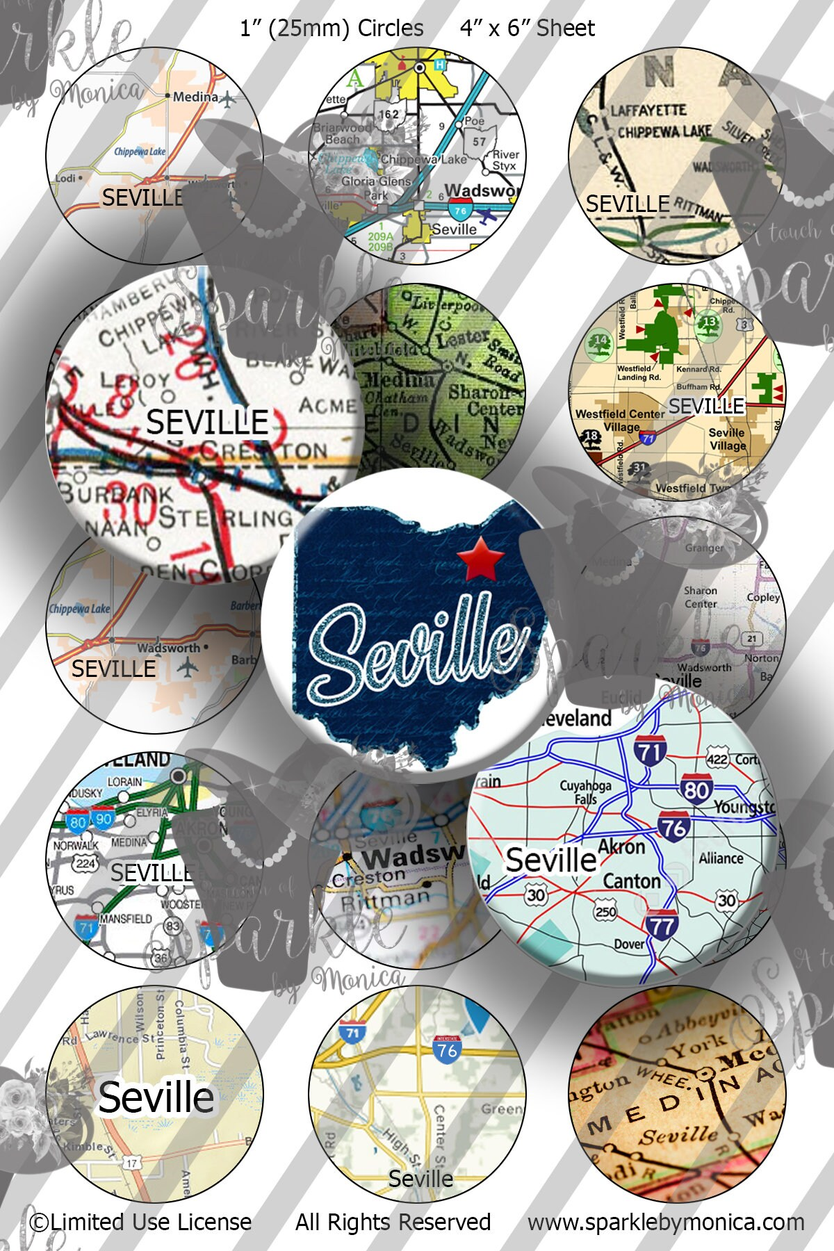 Seville Ohio Maps Bottle Caps 1 Inch 25mm Circles Bcis 4x6 Etsy