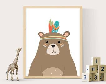 Bear print, Nursery wall art, Tribal bear, Woodland print, Woodlands animal, Tribal Bear print, Boys print, Digital print, Nursery decor