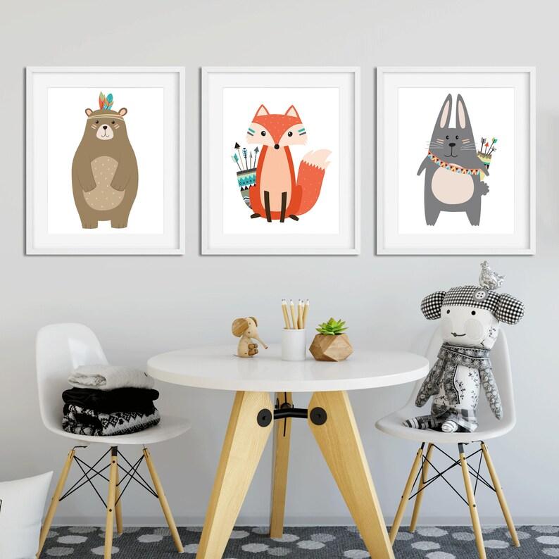 Set Of 3 A4 Size Nursery prints Woodland Prints Wall Art
