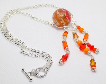 Pendant Necklace, Orange Pendant Necklace, Beaded Tassel Pendant, Handmade Beaded Jewelry, Bohemian Jewelry, Unique Jewelry, Gift for Her