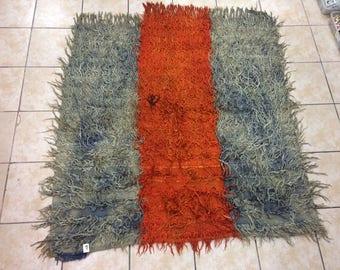 konya tulu rug,blanket rug,gray wool rug,orange tulu rug,handmade rug,turkish tulu rug