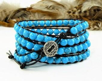 Beaded Wrap Bracelet, Boho Wrap Bracelet, Wrap Bead Bracelet, Bead Boho Bracelet, Gemstone Bracelet, Boho Bracelet Wrap, Leather Wrap, Boho