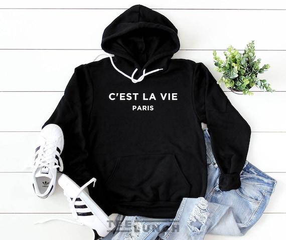 Casual Women Solid Long Sleeve Cest LA Vie Paris Letter Printed Hoodie Pullover