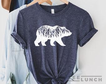 Bear, Bear T-shirt, Bear Mountain, Bear Shirt, Hiking Tee, Camping, Mountain T-shirt, Women Shirt, Travel, Mama Bear