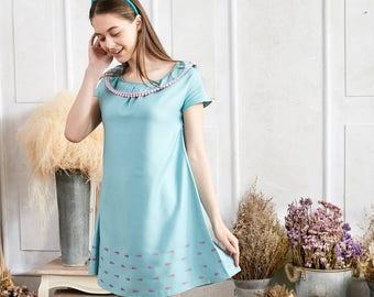 c6b5b7baad9b Woman Dress Whale printed dress with pom pom (woman)