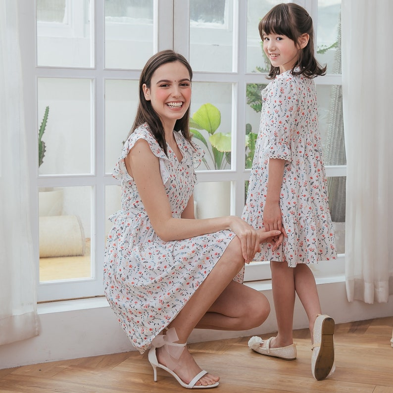 Floral-Printed Chiffon Matching Dress Mommy and Me Pre-order, ship by 329