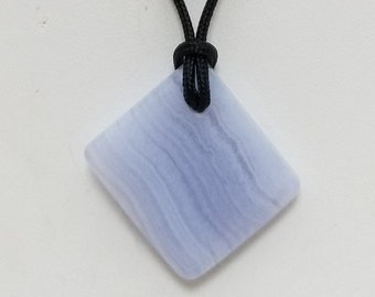 Blue Lace Agate Pendant Necklace, Free Shipping (18603), Blue Lace Agate Necklace, Pendantlady,Pq