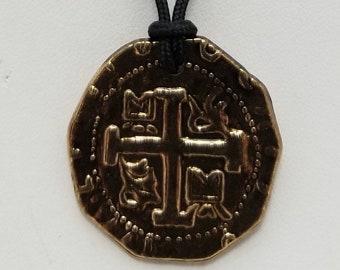 Doubloon Treasure Coin Replica Pendant Necklace, Free Shipping (18614), Doubloon Coin Replica Necklace, Pendantlady,Pq
