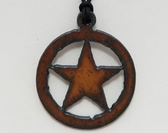 Recycled Metal Texas Star Pendant Necklace, Free Shipping (18602), Texas Star Necklace, Pendantlady,Pq