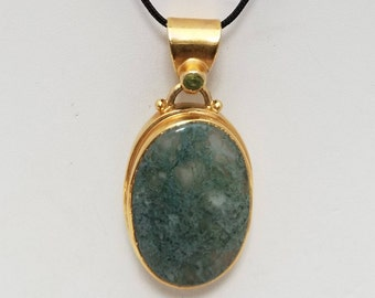 Moss Agate Pendant Necklace, Free Shipping (E17185), Moss Agate and Peridot Necklace with 20K Gold over Sterling Silver, Pendantlady,pq