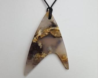 Star Trek Pendant Necklace, Free Shipping (E17150) Penpq, Plume Agate Necklace, Pendantlady,pq
