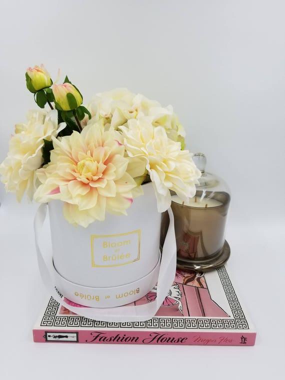 Dalihia And Hydrangea Silk Floral Arrangements In Round Flower Etsy