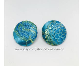 Oriental Fabric Covered Earrings
