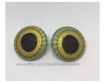 African Print Covered Earrings