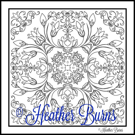 Coloring Page Tulip Flowers Tile To Color Adult Etsy