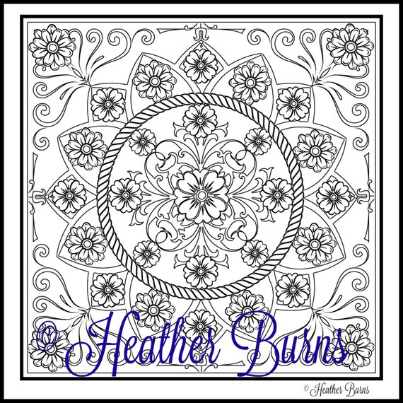 Coloriage Mandala Fleur Page A Coloration Coloration Etsy