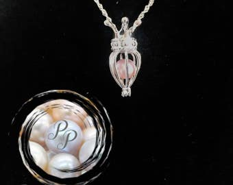Sterling Silver Crown Pearl Cage Pendant
