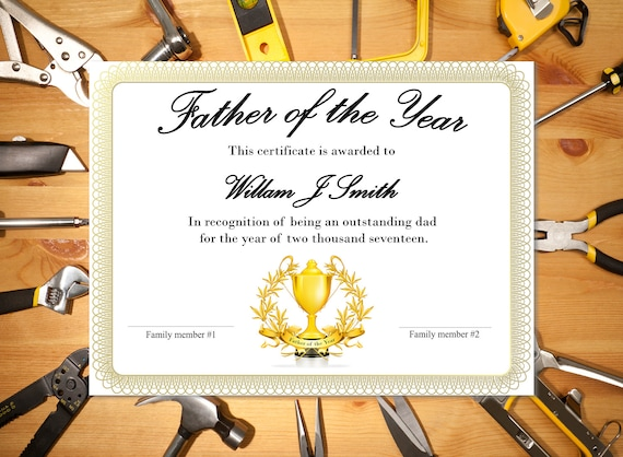 father of the year award etsy