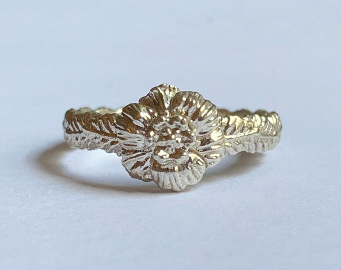 Sculpted Flower Ring | Sterling Silver | Dainty and Feminine Floral Ring
