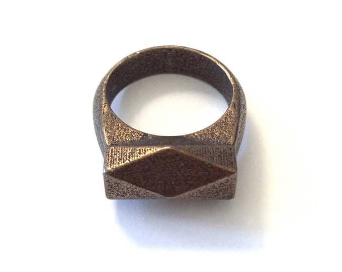 Chunky Hedron Ring in Polished Bronze Steel // Geometric Ring // Industrial Jewelry // Textured Metal Ring for Her // 3d Printed Metal