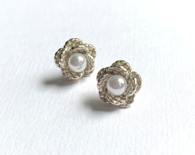Sterling Silver and Pearl Quilted Flower Earrings