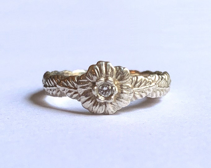 Sculpted Flower Ring with Cubic Zirconia | Sterling Silver | Delicate and Feminine Floral Ring