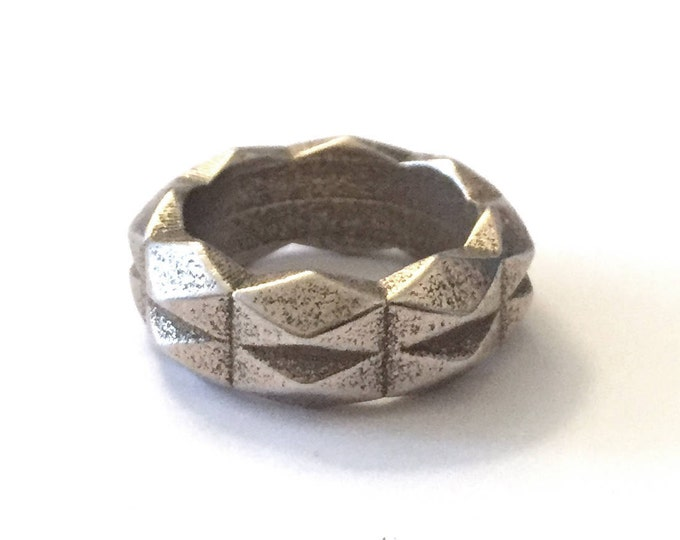 Chunky Geometric Band Ring |3D Printed Steel | Unisex Jewelry | Men's Ring | Rock 'N Roll Steel Ring | Chunky Goth Jewelry | Women's Ring