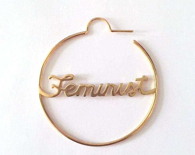 Gold Feminist Earrings | Feminim Jewelry | Gifts for Girls | Strong Women | Girl Power | Silver | Word Hoops | Boss Bitch | Future is Female