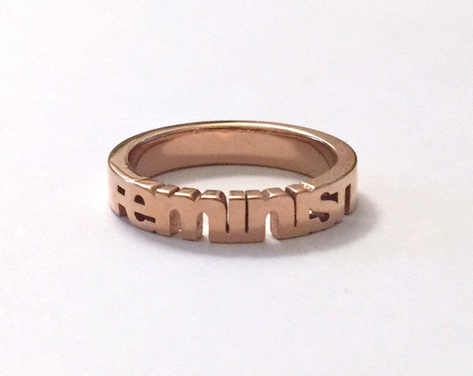 Feminist Ring 14k Rose Gold Plated | The Future is Female | Gifts for Strong Women & Girls | Feminism Jewelry | Feminist AF | Women's March