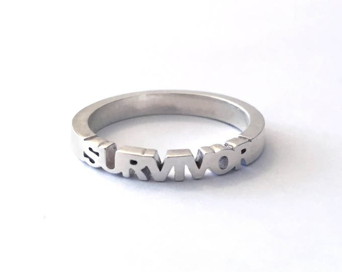 Survivor Ring in Sterling Silver | Gifts for Cancer Survivor | Breast Cancer Jewelry | I Survived Cancer | Cancer Sucks | F*ck Cancer!
