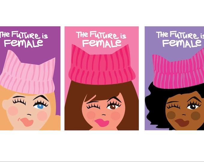 The Future is Female - Set of 3 Printable Art / Digital Download | Feminist AF Postcards | Girl Power! | Pink Pussycat Hats Illustation