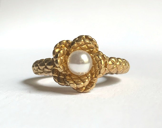 Brass and Pearl Small Quilted Flower Ring