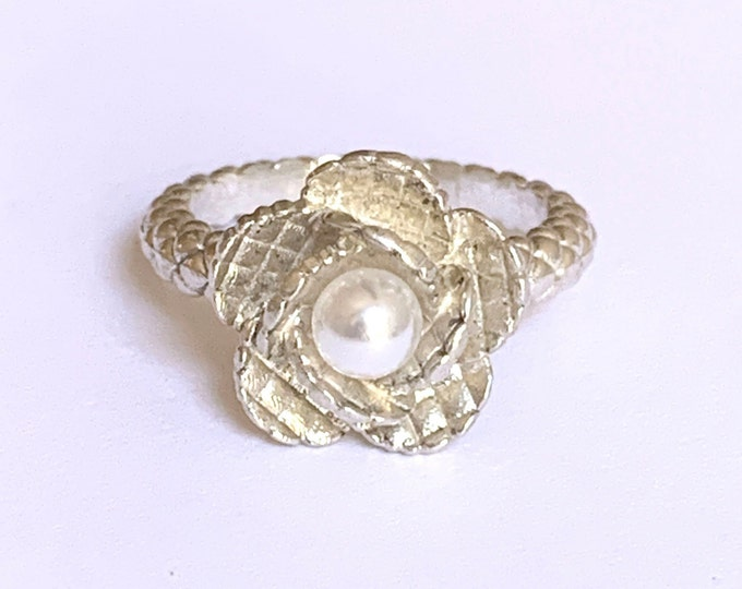 Sterling Silver and Pearl Quilted Flower Ring
