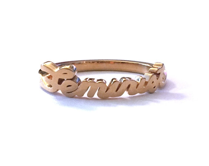 Gold Feminist Ring | Feminist Jewelry | Script Word Ring | Time's Up | Strong Women & Girls | Feminism | Girl Power | Women's Movement